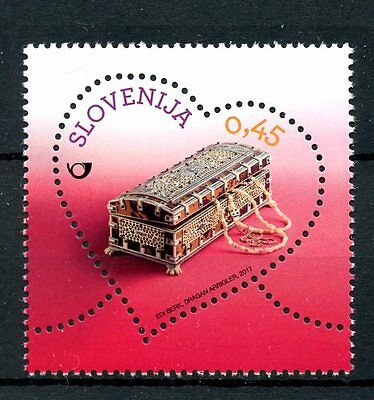 Slovenia 2017 MNH Miniature Painted Chest Greetings Love 1v Heart Shaped Stamps