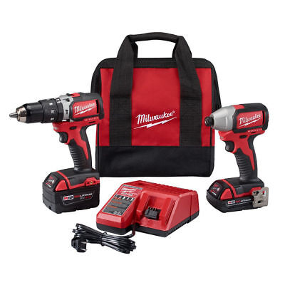 Milwaukee 2799-82CX M18 1/2 in. Hammer Drill and 1/4 in. Impact Driver Refurb