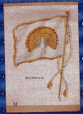 VINTAGE SILK CIGARETTE CARD FLAG OF 'BURMAH' No. 31