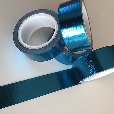 Washi Tape Foil Solid Colour Blue 15Mm Wide X 5Mtr Roll Plan Craft Wrap Scrap