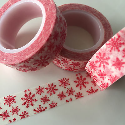 Washi Tape Red Snowflakes 15Mm X 10Mtr Roll Plan Craft Scrap Wrap