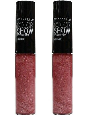 2 x Maybelline Color Show Lip Gloss #170 PRETTY PINK 5ml 100% Brand New