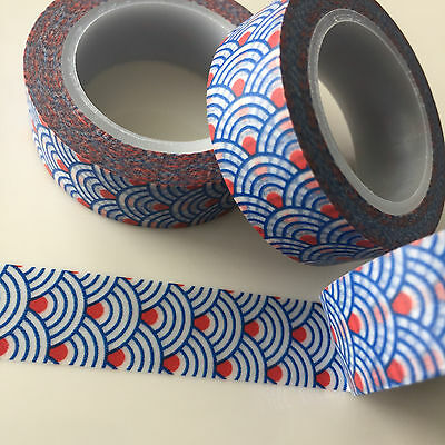 Washi Tape Blue Scale Red Dot 15Mm X 10Mtr Planner Craft Scrap Wrap Mail Art