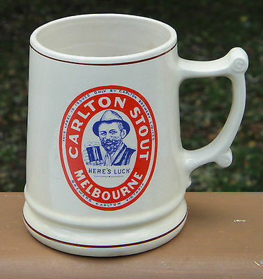 Great Collectable Carlton Stout Melbourne Pottery Handled Beer Stein Mug