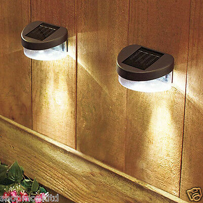 2x New Solar Powered Fence Lights Outdoor Garden Shed Step Wall LED Lighting