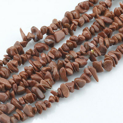 Natural GOLDSTONE Freeform Shape Beautiful Chip Loose Beads Strand 33.5""