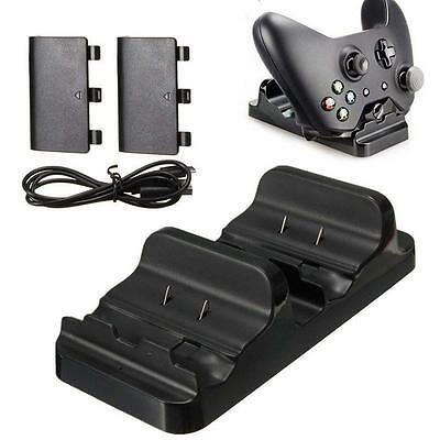 Dual Charging Dock Controller Charger +2x Rechargeable Batteries for XBOX ONE DG