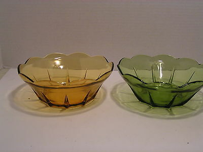 Two Vintage Glass Salad Serving Bowls Green and Brown, EUC
