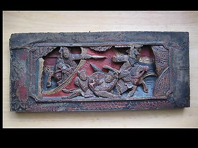 """Antique Chinese Wood Panel Deep Carved & Painted Scene 14"""" X 6"""" X 3/4"""""""