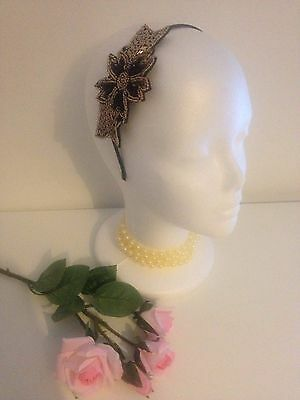 Vintage 1920 Beaded Black Gold Flapper Fascinator Flower Headband Gatsby Races 3