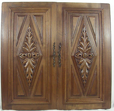 antique french  wood door walnut carved