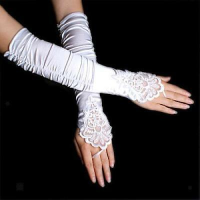 14'' White Stretchy Satin Bridal Wedding Lace Fingerless Gloves Opera