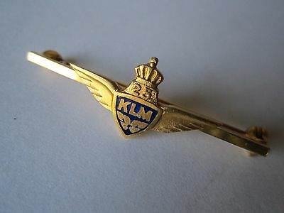 Solid 14K Gold & Enamel Wings Klm Airlines Employee 25 Year Bar Pin Badge Award