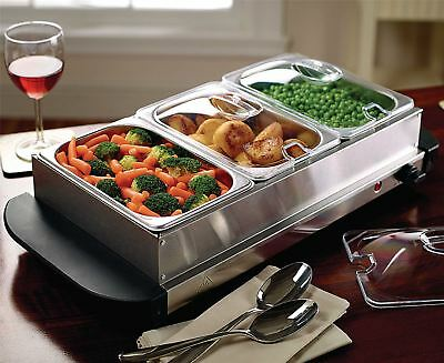 Table Top Food Warmer Buffet Hot Plate Stainless Steel Tray Dish Server Eletric