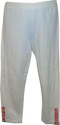 USED Girls M&S White & Pink Leggings Size 6-7 Yrs (Y.M)
