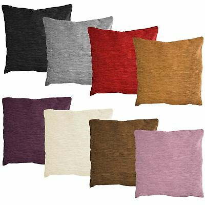 Luxury Plain Chenille Cushion Covers Super Soft Scatter Pillow Zip Up Fastening