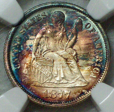1877 Dime MS 66 NGC - Gorgeous Rainbow Tone Both Sides SILVER Seated Liberty 10C