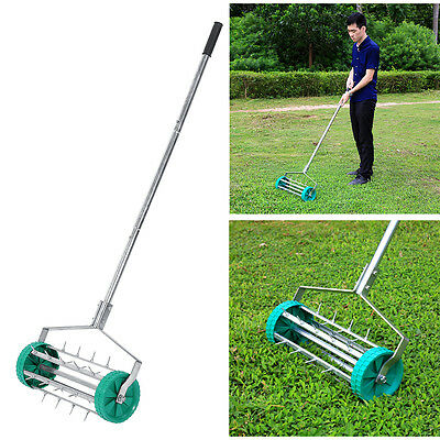 Outdoor Garden Grass Lawn Manual Aerator Steel Spike Roller Aluminum Handle UK