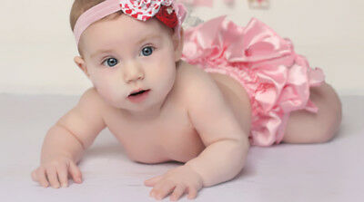 Newborn Baby Infant Girl's Ruffle Bow Bloomers Diaper Nappy Cover Pants Pink