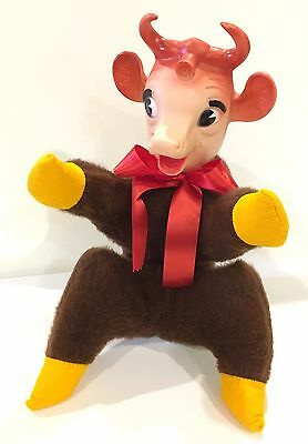 Vtg Adv 1950's Bordens Elsie The Cow Plush Stuffed Brown Cow Rubber Face Head