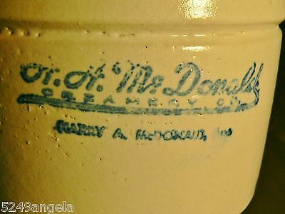 Vintage Advertising Butter Crock Harry A. McDonald Creamery 1934 Stoneware Dairy