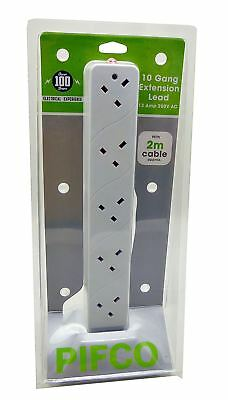 Pifco 10 Gang Way Extension Lead Tower 2m Cable UK 13 Amp