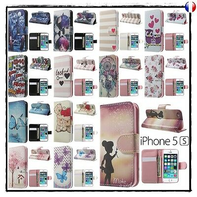 Etui coque housse XXL colors Porte cartes Wallet Case Cover apple iphone 5 5s SE