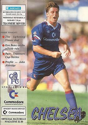 Football Programme - Chelsea v Tranmere Rovers - League Cup - 25/9/1991