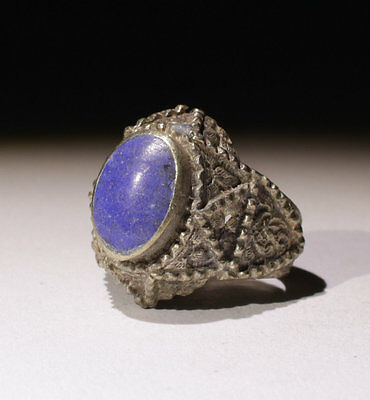 Nice Post Medieval Silver & Lapis Ring - No Reserve!!