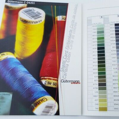 REAL THREAD Gutermann Natural Cotton & Hand Quilting Shade Chart Guide Swatch