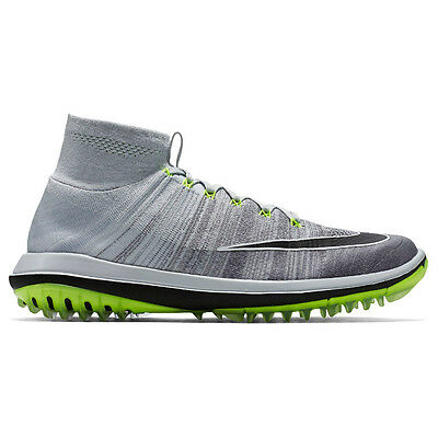 Nike Mens Flyknit Elite Golf Shoes- Pure Platinum/Cool Grey/Volt/Black - NIB