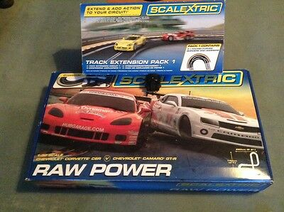 Scalextric Raw Power Set + Track Extension Pack 1 And Adapter