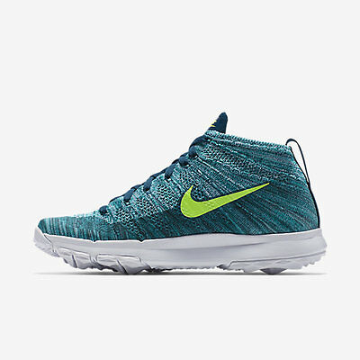 Nike Mens Flyknit Chukka Golf Shoes- Rio Teal/Volt/Midight Turq/ H-jade - NIB