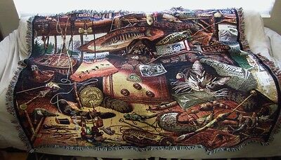 """'Max in the Adirondacks' Cat Tapestry Throw by Pure Country Weavers  54""""x70"""""""