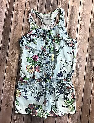 Levis Girls Size 12 One Piece Romper Chambray Blue Green Pink Floral