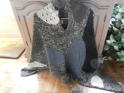 Ladies Cape,blues Gray 100% Wool Made In Italy 1 Size , Just Flip Over Tje Head