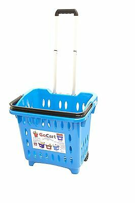 Go Cart Rolling Basket Grocery Shopping Cart Wheels Roll Dolly Teal New