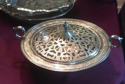 Victorian SILVER PLATE FLOWER CENTERPIECE FANCY engraved COVER
