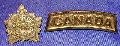 Canada WW1 General Service Collar Badge and CANADA Shoulder Title Geo Lees & Co