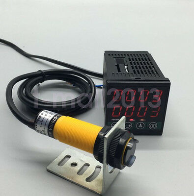 100-240VAC Digital LED Tachometer Moter Speed Meter + Photoelectric Sensor