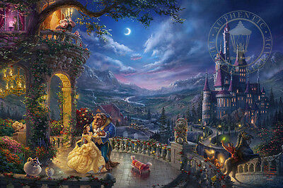 Thomas Kinkade Studios Beauty and the Beast Dancing 18x27 SN LE Unframed Paper