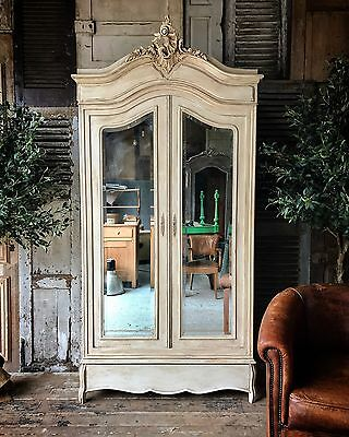 Original vintage French Louis XV linen press / armoire with Mirrored doors
