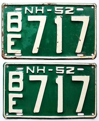 New Hampshire 1952 License Plate YOM PAIR - Can Be Registered - BE 717