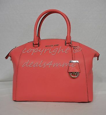 NWT! Michael Kors Riley Large Satchel/Shoulder Bag in Coral/Silver Hardware