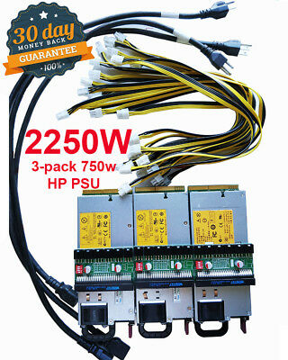3-Pack 1300W+ Power Supply PSU Customized Kit 6pin for Antminer S1 S3 S5 S7