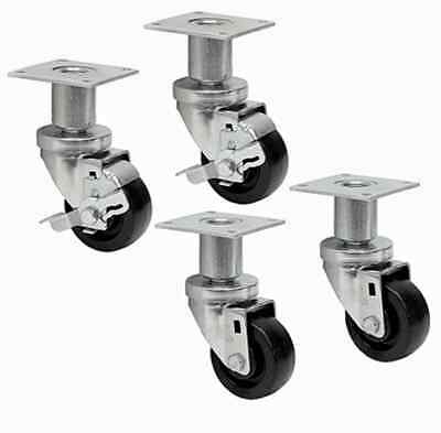 "3"" x 1-1/4"" HEIGHT ADJUSTABLE CASTERS FOR COMMERCIAL APPLIANCES / SET OF 4"