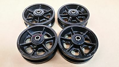 "6' X 2 "" V-Grooved Steel Wheel / Set Of 4  (1,200 Lbs Capacity/ea)"