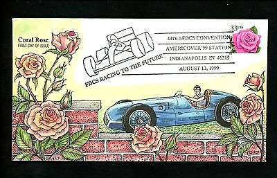 US FDC #3052 Collins HP Hand Painted 1999 Indianapolis IN Coral Rose Flower