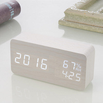 Smart Home Digital LED Wood Alarm Clock Voice Control Timer Thermometer New