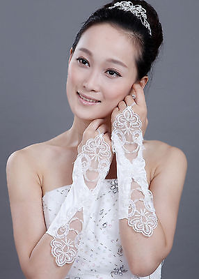 Women Girls Cream Floral Lace Satin Fingerless Bridal Party Gloves
